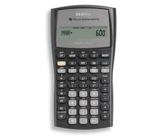 Texas Instruments BA II Plus Financial Calculator in black and gray