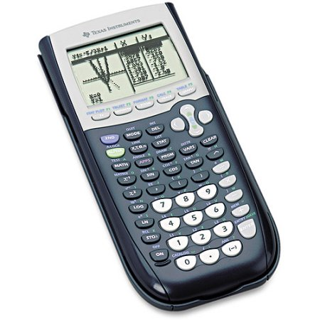 Texas Instruments TI-84, one of the best graphing calculators, colored black but also has a light gray area around the screen