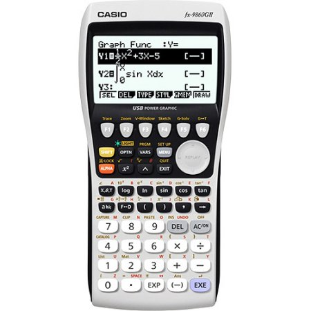 White Casio fx-9860GII Graphing Calculator that also has a few areas colored black