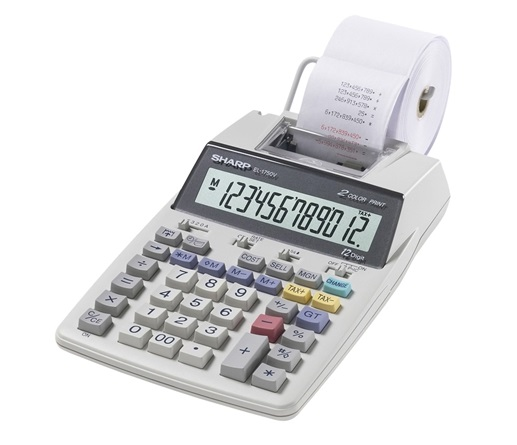 Sharp EL-1750V calculator with red and black ink