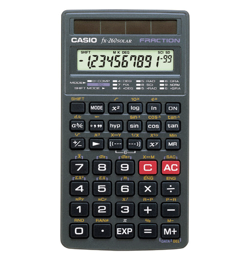 Casio fx-260 SOLAR Scientific Calculator that can hash out basic calculations but also complex mathematics
